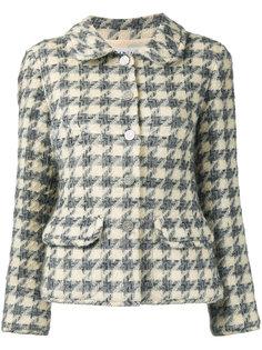 пиджак в ломаную клетку с логотипом CC Chanel Vintage