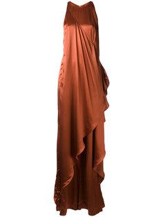 атласное длинное платье Balmain