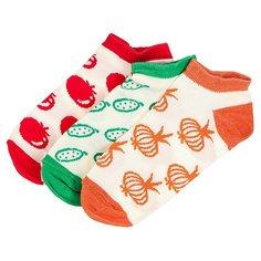 Носки низкие женские Запорожец Витамины Белый/Зеленый-белый/Оранжевый-белый/Красный