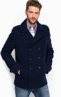 Синее пальто из шерсти и полиэстера Hilfiger Denim