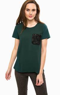 Зеленая футболка с контрастным карманом Liu Jo