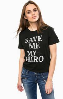 Хлопковая футболка с контрастным принтом Replay