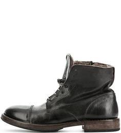 Зимние кожаные ботинки на молнии и шнуровке Moma
