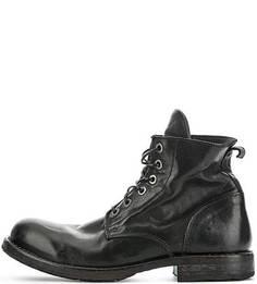 Высокие кожаные ботинки черного цвета Moma
