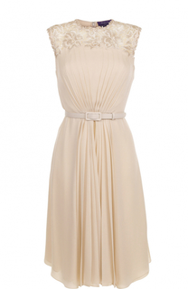 Шелковое платье с ремнем и кружевной отделкой Ralph Lauren