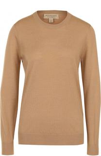 Шерстяной пуловер прямого кроя с заплатками Burberry
