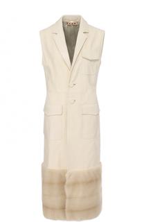 Удлиненный кожаный жилет с отделкой из меха норки Marni