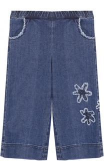 Укороченные джинсы свободного кроя с аппликациями и эластичным поясом Il Gufo