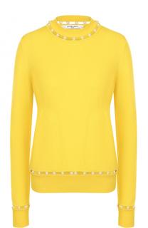 Шерстяной пуловер с жемчужной отделкой Givenchy
