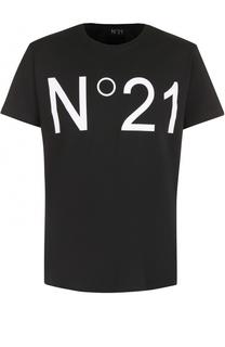 Хлопковая футболка с логотипом бренда No. 21