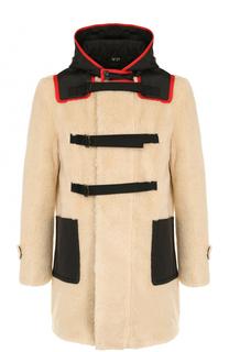 Пальто из эко-меха на молнии с капюшоном No. 21