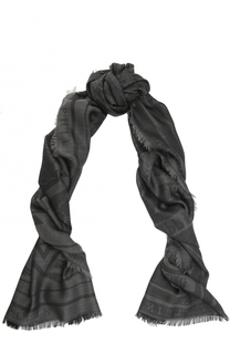 Шарф из смеси шерсти и шелка с принтом Philipp Plein