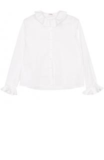 Хлопковая блуза прямого кроя с оборками Il Gufo
