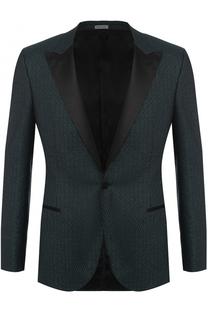 Шерстяной однобортный пиджак с металлизированной отделкой и остроконечными лацканами Lanvin