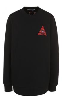 Удлиненный свитшот с контрастной отделкой Givenchy