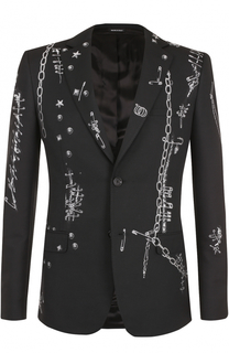 Однобортный приталенный пиджак с вышивкой Alexander McQueen