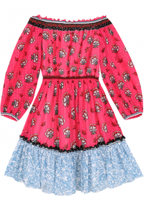 Мини-платье с контрастной оборкой и открытыми плечами Mary Katrantzou