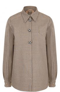 Шерстяная блуза в клетку с декорированными пуговицами No. 21
