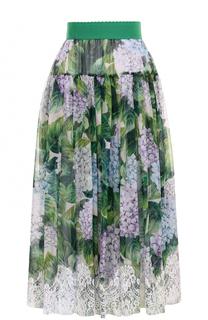 Шелковая юбка с цветочным принтом и кружевной отделкой Dolce & Gabbana