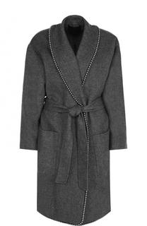 Пальто с металлизированной отделкой и поясом Alexander Wang