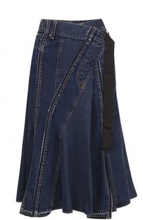 Джинсовая юбка-миди Sacai