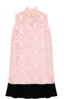 Кружевное мини-платье с контрастной оборкой No. 21
