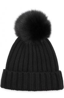Вязаная шапка с помпоном из меха Nima