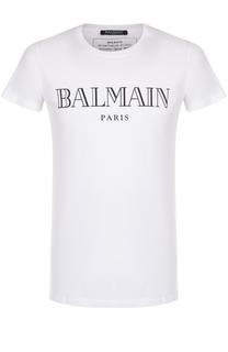 Хлопковая футболка с логотипом бренда Balmain