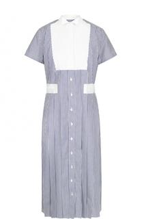 Хлопковое платье-миди в полоску Sacai