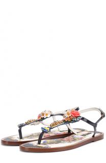 Кожаные сандалии с кристаллами Dolce & Gabbana