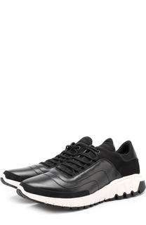 Кожаные кроссовки на шнуровке с замшевой отделкой Neil Barrett