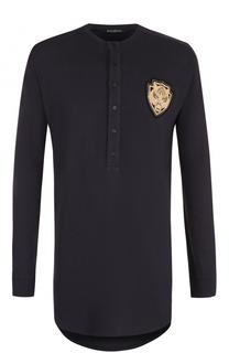 Удлиненная футболка хенли с длинными рукавами из смеси хлопка и шелка Balmain
