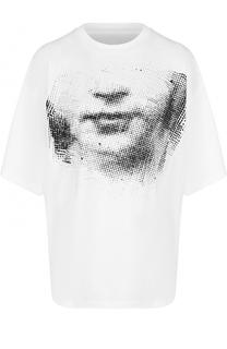 Хлопковая футболка свободного кроя с принтом Maison Margiela
