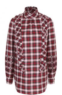 Хлопковая блуза в клетку с оборками No. 21