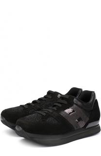 Комбинированные кроссовки с вышивкой пайетками Hogan