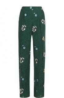 Кружевные брюки прямого кроя с защипами и вышивкой No. 21