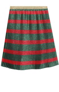 Плиссированная юбка с принтом и металлизированной отделкой Gucci