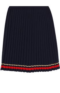 Плиссированная юбка с контрастной отделкой Gucci