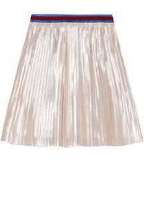 Плиссированная юбка с металлизированной отделкой и контрастным поясом Gucci