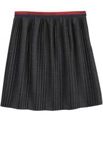 Плиссированная юбка с контрастным поясом Gucci