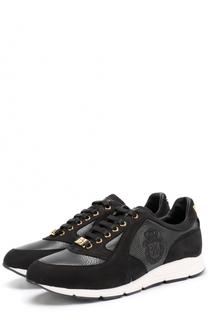 Кожаные кроссовки на шнуровке с замшевой отделкой Billionaire