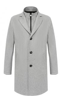Однобортное кашемировое пальто с кожаной отделкой Kiton