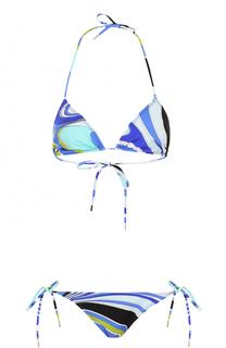 Раздельный купальник с треугольным бра и принтом Emilio Pucci