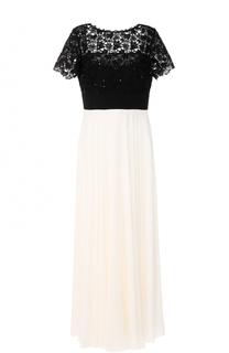 Платье-макси с контрастным кружевным лифом Escada