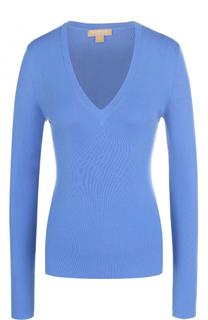 Приталенный кашемировый пуловер с V-образным вырезом Michael Kors