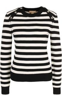 Вязаный пуловер в полоску с круглым вырезом Michael Kors