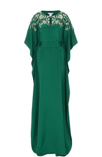 Шелковое платье-макси с цветочной вышивкой и поясом Oscar de la Renta