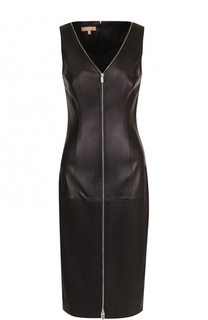 Кожаное платье-футляр с V-образным вырезом Michael Kors