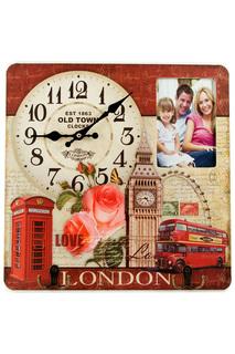 """Коллаж-ключница, часы """"Лондон"""" Русские подарки"""