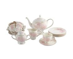 """Чайный сервиз """"Розовые цветы"""" 21 предмет на 6 персон Emerald"""